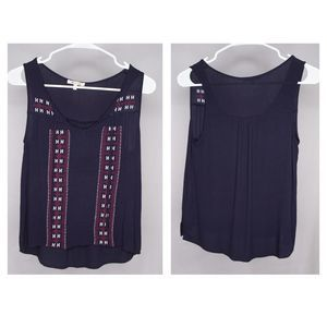 BLEUH CIEL Boho XS Embroidered TOP Tank Sleeveless